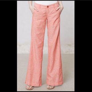 Pilcro wide leg linen trousers. Sz 10